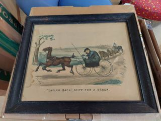 Currier and Ives Print in Frame