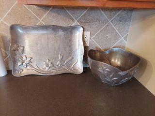 lenox Aluminum Tray and Bowl   Heavy
