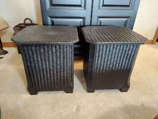 PaIr of Wicker Storage End Tables