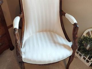 Antique Oak Chair with Carved Goose Heads