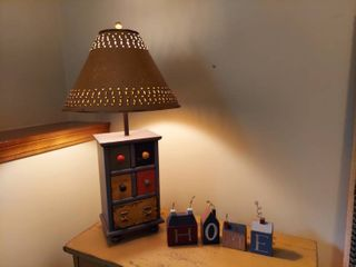 Wooden Cabinet lamp with Metal Shade and Wooden Home Blocks