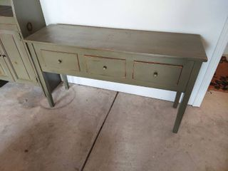 Green Country Farm House Table with 3 Drawers
