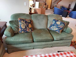 Green Couch with Pillows Made by Wesley Hall