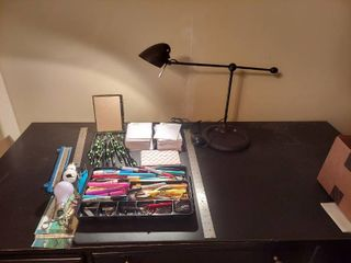 Assorted Office Supplies and Desk lamp