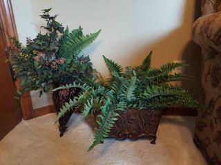 2 Fuax Plants in Metal Planters