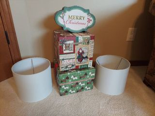 3 Christmas Decor Boxes and 2 lamp Shades
