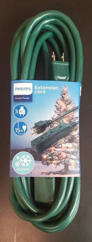 Philips 15  3 Outlet Grounded Extension Cord Outdoor Green