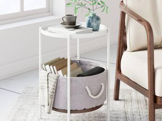 Nathan James Oraa Nightstand with Rustic Oak Tray Top  White Metal Frame with Fabric Basket and Rope Handles