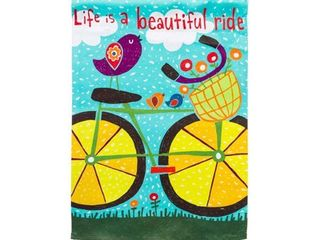 Garden Sublimation Printed Suede life is a Beautiful Ride Flag  18X0 15X12 5 Inches