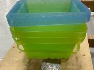 Set of 4 Square Small Plastic Baskets