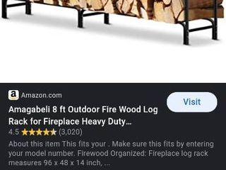 8 Ft Fire Wood log Rack for Fireplace