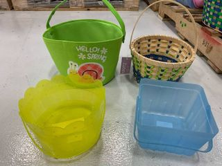 Set of 4 Assorted Plastic Fabric Wood Baskets