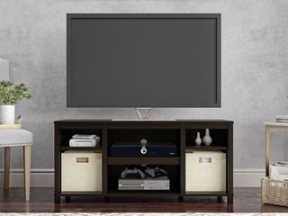 Mainstays Parsons Cubby TV Stand for TVs up to 50  Espresso  Has Chips and Scratches