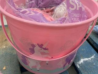 Pink Plastic Basket w  6 Bags of Grass