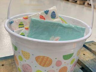 White Plastic Basket w  Plates   Napkins