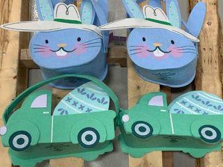 Set of Felt Blue   Green Baskets