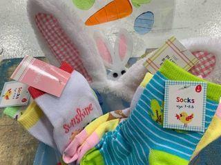 Small Blue Plastic Square Basket   Kid Sock Bundle
