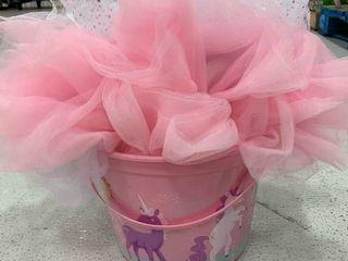 Pink Plastic Unicorn Basket   Tutu Bundle