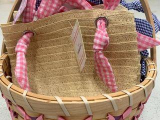 Tan Basket   Mini Gingham Purse Bundle