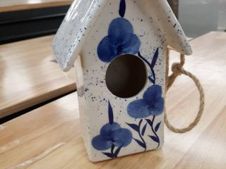 Sagebrook Home Ceramic 10  Floral Birdhouse 15140 01