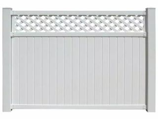 Pallet of Belfast 6 ft  x 6 ft  White Vinyl lattice Top Fence Panel