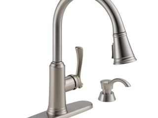 Delta lakeview Single Handle Pull Down Sprayer Kitchen Faucet with Shield Spray Technology and Soap Dispenser in Stainless
