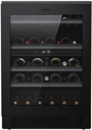 VWUD044BAB 24  Dual Zone Compact Wine Cooler with 44 Bottle Capacity UV Proof Dark Storage Area Vintec Perfect Cradle Shelving Humidity Recycling Retail Price  2 199