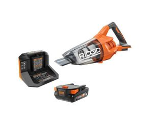 RIDGID 18V Cordless Compact Vacuum Kit w Crevice Nozzle Utility Nozzle Extension Tube   1  2 0 Ah Battery Charger