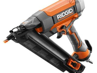 RIDGID 15 Gauge 2 1 2 in  Angled Finish Nailer with ClEAN DRIVE Technology  Tool Bag  and Sample Nails
