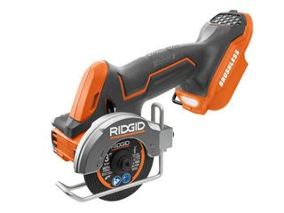 RIDGID 18 Volt SubCompact lithium Ion Cordless Brushless 3 in  Multi Material Saw  Tool Only  with  3  Cutting Wheels