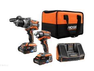 RIDGID 18 Volt OCTANE lithium Ion Cordless Brushless Combo Kit with Hammer Drill  Impact Driver   2  3 0 Ah Batteries  Charger