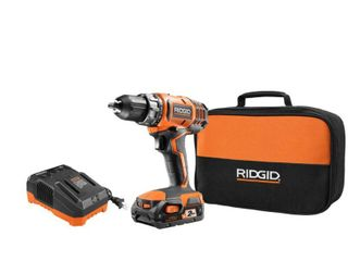 RIDGID 18 Volt lithium Ion Cordless 2 Speed 1 2 in  Compact Drill Driver Kit with 2 Ah Battery  and Tool Bag Charger missing