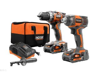 RIDGID 18 Volt lithium Ion Cordless Drill Driver and Impact Driver 2 Tool Combo Kit with  1  2 0 Ah Batteries  Charger  and Bag