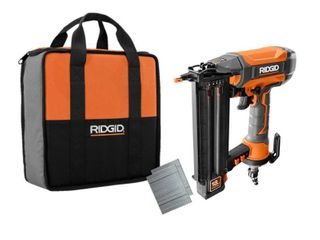 RIDGID 18 Gauge 2 1 8 in  Brad Nailer with ClEAN DRIVE Technology  Tool Bag  and Sample Nails