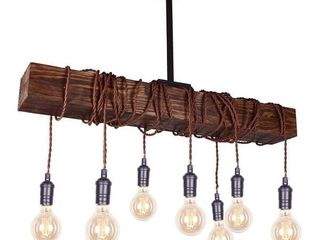 Farmhouse 8 light Distressed Wood Beam Chandelier   175 99