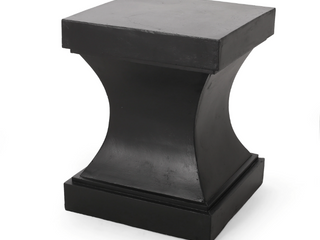 Athena Outdoor Modern lightweight Concrete Side Table by Christopher Knight Home   Black