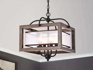 The lighting Store Alina Antique Black Metal Natural Wood Chandelier with Fabric Shade 119 99