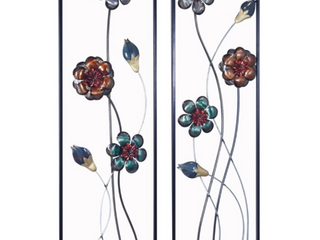 Midnight Garden Buds and Blooms Vertical Wall Panel  Set fo 2   93 98 Retail