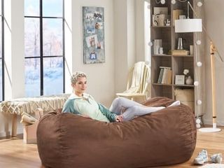 Asher Traditional 6 5 Foot Suede Bean Bag Chair by Christopher Knight Home   Brown 155 99
