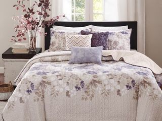 Madison Park Piper Taupe 6 piece Quilted Coverlet Set Full Queen 72 99