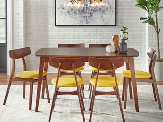 Simple living Solid Beechwood Cadiz 7 piece Dining Set   Yellow Walnut ONlY 2 CHAIRS