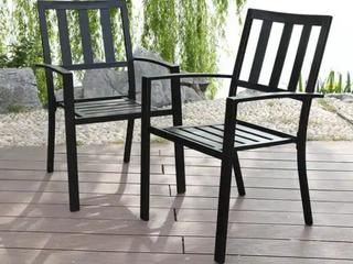 Outdoor Bistro Deck Patio Metal Chairs Stackable  Black Finish  set Of 2