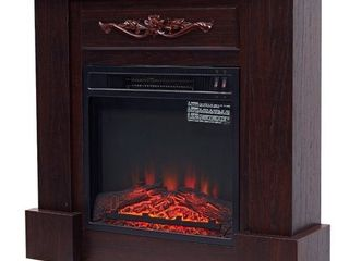 HOMCOM Electric Fireplace Freestanding Heater 1400w Artificial Flame Effect   Dark Brown 350 00