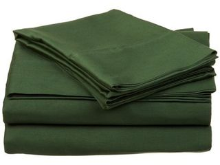 Impressions Genuine Egyptian Cotton 400 Thread Count Split King 5 Piece Sheet Set Stripe  Hunter Green