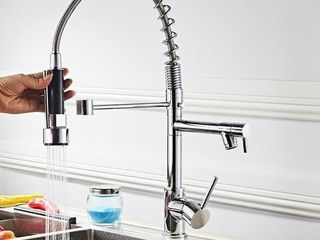 Pull down Stainless 2 function Spray Swivel Kitchen Faucet   Double Handle