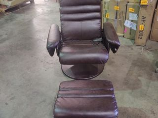 Brown Massager Chair with Ottoman