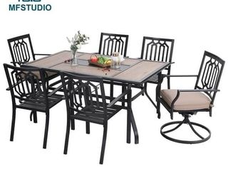 MFSTUDIO 7PCS Patio Dining Set  large Rectangular Wood like Top Table with 4 Metal Chairs and 2 Swivel Chairs ONlY 2 METAl CHAIRS  AS IS