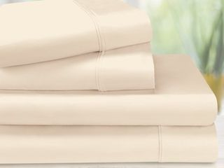 Egyptian Cotton 1200 Thread Count Oversized King Sheet Set Solid  Ivory