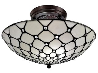 Amora lighting 16 in  3 light White Tiffany Style Jeweled Flush Mount Ceiling Fixture lamp
