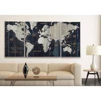 Old World Map Blue  3 Piece Graphic Art Print Set on Wrapped Canvas  Retail    115 99